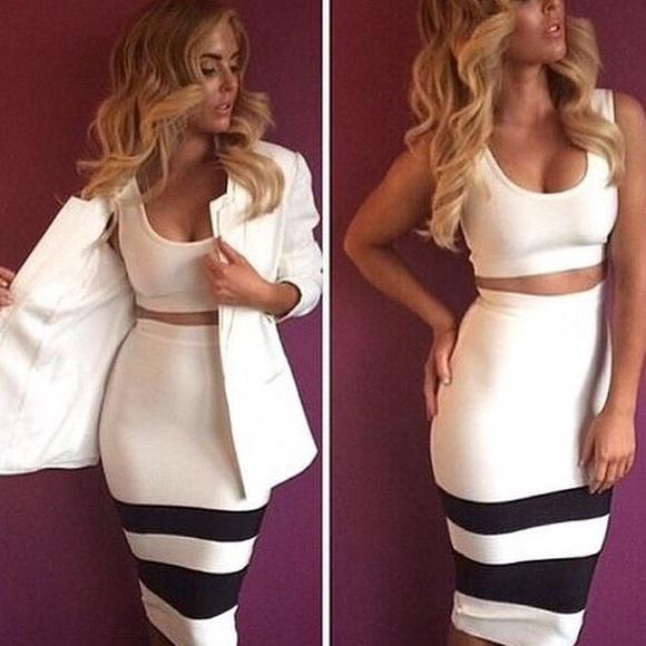 MISHA COLLECTION Dresses & Skirts - White Pencil Skirt Set